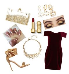 """""""red gold"""" by mynameisn on Polyvore featuring Gianvito Rossi, Nicholas and Oscar de la Renta"""