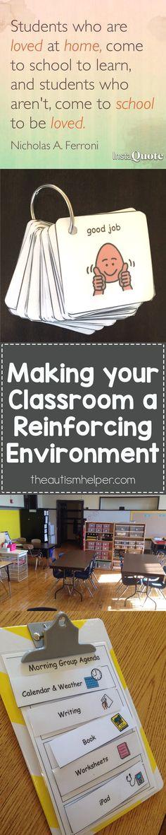 Creating a Reinforcing Environment - The Autism Helper Autism Classroom, Future Classroom, Classroom Behavior Management, Classroom Organization, Classroom Ideas, Classroom Design, Social Skills, Social Work, Teaching Tips