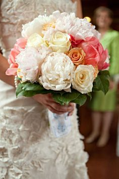 Peach & Coral & Ivory Wedding Bouquet - I'll always be a sucker for this color combo! #Cake