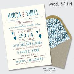 Invitación de boda vintage retro. Sobre de fibra reciclada con o sin forro personalizado.