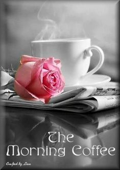 Color splash colour splash colorsplash coloursplash pink blush rose roses flower coffee tea cup cute black and white photography I Love Coffee, Coffee Break, My Coffee, Morning Coffee, Good Morning, Coffee Cups, Tea Cups, Morning Rose, Beautiful Morning