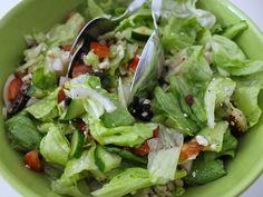 LYH Blog: Chicken Greek Salad with Homemade Dressing Homemade Dressing, Greek Salad, Spinach, Chicken, Vegetables, Blog, Recipes, Vegetable Recipes