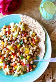 Garbanzo Bean Salad. I didn't really follow the recipe much. The dressing as called for was a bit too citrusy for me so I added Tahini. Used garbanzo beans and pico de gallo versus the peppers and cucumbers. Really good for 'winging it'