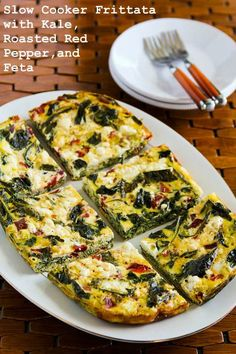 Slow Cooker Frittata with Kale, Roasted Red Pepper, and Feta; this delicious red-and-green breakfast can cook in the crockpot while you're opening presents. [from KalynsKitchen.com] #SlowCooker #HealthyHolidays