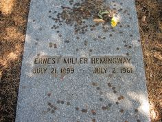 """Grave Marker- Ernest Hemingway, American author and Nobel laureate. Hemingway's family and friends flew to Ketchum for the funeral which was officiated by the local Catholic priest, who believed the death accidental. Of the funeral (during which an altar boy fainted at the head of the casket), his brother Leicester wrote: """"It seemed to me Ernest would have approved of it all."""" He is buried in the Ketchum Cemetery, in Ketchum, Idaho."""