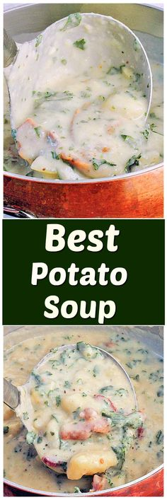 The Best Potato Soup...a thick , creamy, hearty soup that's absolutely delicious! This is a very satisfying dinner loaded with potatoes, bacon and kale.