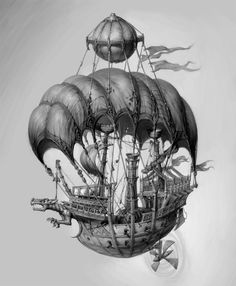 Illustration of fantasy-Projects for GSC game word Picture (2d, fantasy, airship)