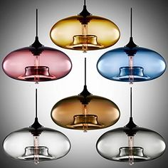 BYB® CY-DD-TY Contemporary Murano Fishbowl Shape Glass Bubble Shade Pendant Light Blown Glass One Bulb Pendant with 1x 40W Vintage Edison E27 Bulb, Seven Color Available: Amber, Coffee, Smoky Gray, Royalblue, Dark Red, Lilac and Transparent. BYB