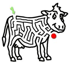Cow Coloring Page With Maze