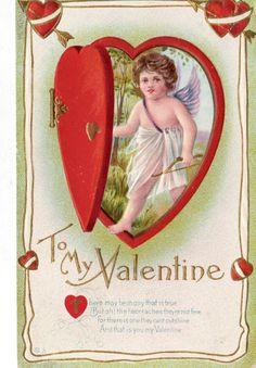 Vintage 1912 E. Nash Valentine Cherub Postcard