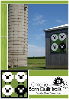 """Sheep in the Meadow"" a creative and unique #barnquilt design. Visit barnquilttrails.ca for more inspiring #ruralart. Watch the new East Chatham-Kent Barn Quilt Trail expand."