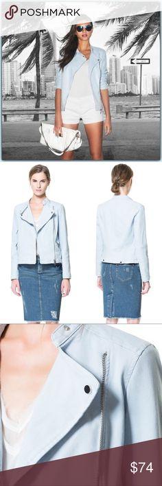 NWT Zara Vegan Leather Moto Jacket ➖NWT ➖BRAND: Zara ➖SIZE: XS ➖STYLE : A pastel blue Moto style jacket  ➖MATERIAL : Outer: 98% cotton 2% Elastane                           Inner lining : 100% Cotton                           Sleeves : Acetate   ❌ NO TRADE  Entropycat Zara Jackets & Coats Utility Jackets