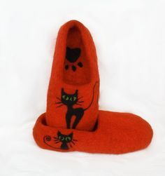 Love is - warm toes on a cold day!  <3 Handmade slippers would be an amazingly luxurious gift! <3 Felted slippers BLACK CAT by irinaonix67