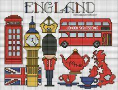 Inglaterra a punto de cruz
