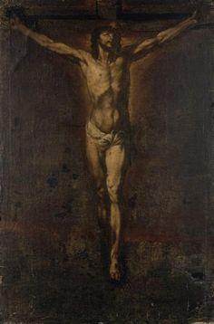 Ecole française du XVIIème siècle  Crucifixion. Huile sur toile. 116 x 76 cm.