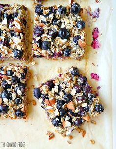 Blueberry Oatmeal Breakfast Bars. Vegan & Gluten Free. Wholesome, clean ingredients & nutritionally balanced. Lightly sweetened. Lots of superfood goodness!