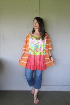 oversize plus size upcycled romantic tunic by lillienoradrygoods