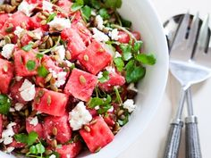 Watermelon & Feta Salad...It's almost Picnic-BBQ Season ~ This is the perfect salad for any occasion...cold and refreshing. Easy to prepare too.