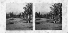 A Alameda dos Remedios. Mondoñedo, Lugo. Ca. 1910. Imaxe estereoscópica. Placa de cristal con emulsión de bromuro lento e clorobromuro rápido. 8,9 x 17,8 cm.