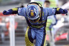 Fernando Alonso beats Michael Schumacher to win his second title. Schumacher retires at season's end , 2006