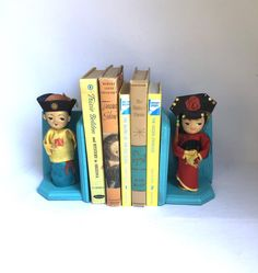 Upcycled ASIAN DOLL BOOKENDS by orangedoorcottage on Etsy Upcycled Vintage, Vintage Wood, Vintage Decor, Orange Company, Wood Bookends, Orange Door, Dog Milk, Painted Cottage, Asian Doll