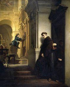 Heinrich Lossow (German, 1840–1897) Kleiner Mozart spielte Orgel in der Kirche der Franziskaner in Wien im Jahre 1762 (Юный Моцарт играет на органе в церкви францисканцев в Вене в 1762 году). 1864 г. Stadtmuseum, Linz