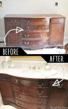 Remodeled Bathroom Vanity Using Old Dresser how to turn a vintage french dresser into a double sink vanity