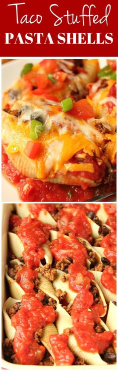 Taco Stuffed Pasta Shells Recipe - cheesy jumbo pasta shells filled with taco beef and baked with salsa sauce. It's taco night and pasta night in one delicious dinner!