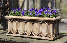 Rittenhouse cast stone Window Box made by Campania International Stone Planters, Window Planter Boxes, Garden Planters, Planter Pots, Planter Ideas, Garden Fountains, Mosaic Garden, Small Space Gardening, Cast Stone