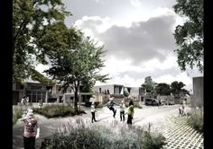 Image 8 of 9 from gallery of Plans Revealed for Denmark's Delta District in Vinge. Courtesy of SLA and the Municipality of Frederikssund A As Architecture, Architecture Visualization, Cgi, Community Housing, Social Housing, Private Garden, New City, Urban Design, Denmark