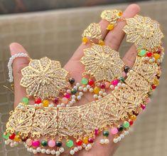 Flower Choker, Pearl Flower, Punjabi Traditional Jewellery, Jewelery, Crochet Necklace, Chokers, Brass, Ship, Pearls