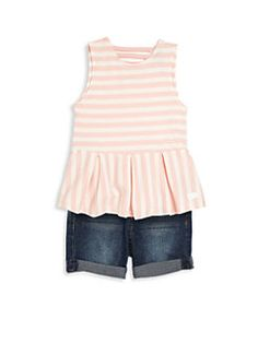 7 For All Mankind - Toddler & Little Girl's Two-Piece Peplum Top and Rolled Shorts Set