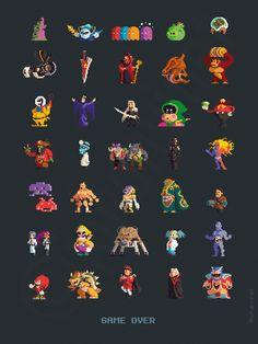 Twitter / johanvinet: Bad guys from 35 games. #pixelart ...