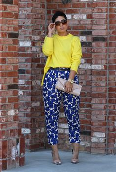 Blue Floral Pants - Mimi G Style