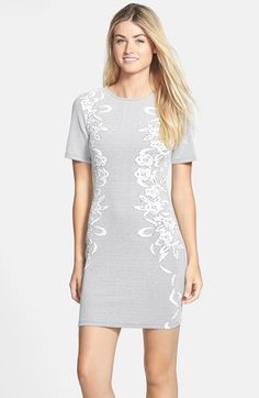 Free shipping and returns on French Connection 'Jocelyn' Jacquard Body-Con Dress at Nordstrom.com. Ribbons and flowers trace the sides of a jacquard-patterned sheath, adding a romantic note to the sultry,  body-conscious silhouette. Short sleeves detail the modern style.