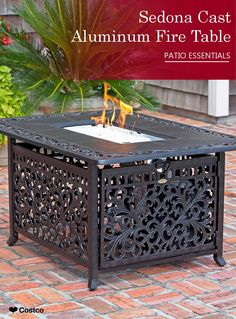 This Sedona Cast Aluminum LPG Fire Pit Table Not Only Functions As A - Cast aluminum gas fire pit table