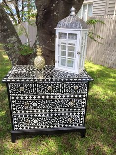 Jody W., a first-time stenciler, just completed this Indian Inlay stenciled dresser. Let's high five her with a LIKE because this project is awesome!  Find the stencil here: http://www.cuttingedgestencils.com/indian-inlay-stencil-furniture.html