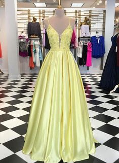 Yellow v neck lace applique long prom dress, yellow evening dress