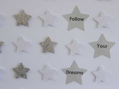 Image of Stars - Small - White/Silver Glitter Star Images, Silver Glitter, Paper Art, Dreaming Of You, Alphabet, Nursery, Quote, Stars, Frame