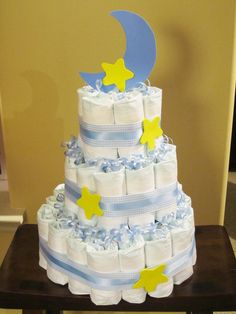 Stars and Moon Diaper Cake!