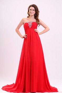 7cc79d21e291 Red Elegant A-line Zip up Chiffon Rhinestone Bridesmaid Dresses