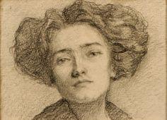 Schütz, Julcsa - self portrait (1859-) híres magyar festő, grafikus - Kieselbach