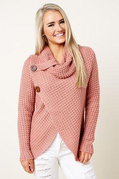 Over The Moon Dusty Rose Cowl Neck Sweater at reddressboutique.com