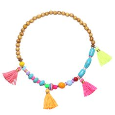 Bracelet with wooden and colorful beads and tassels. www.yehwang.com