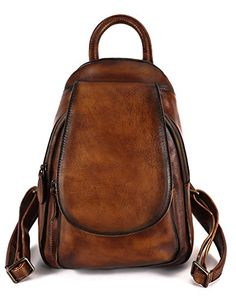 Sophmoda Handmade Vintage Style Genuine Cow Leather Backpack Shoulder Bag  -A358 9b2f9bd341d23