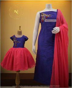 and baby indian (notitle) Mom Daughter Matching Dresses, Mom And Baby Dresses, Mother Daughter Outfits, Mother Daughters, Girls Dresses, Printed Kurti Designs, Salwar Designs, Kurtha Designs, Kids Gown
