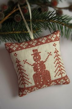 Cross Stitched Folk Art Christmas Redwork Folkart by CherieWheeler, $9.00