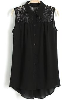 Sheinside Black Lapel Sleeveless Contrast Lace Blouse US$22.03