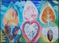 "watercolor with printed leaves; catalpa, fern, red bud, 22 x 30""  by Alexandra Ackerman www.alexandraackerman.etsy.com"