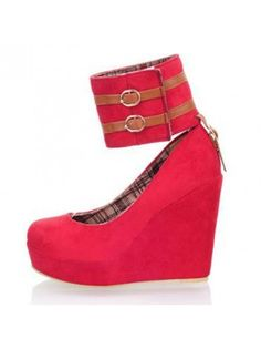 Detachable Strap Red Suede Ankle Strap Wedges